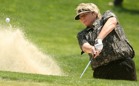 HUIXQUILUCAN, MEXICO - MARCH 15:  Laura Davies of England plays a bunker shot on the 12th hole during the second round of the MasterCard Classic at Bosque Real Country Club on March 15, 2008 in Huixquilucan, Mexico.  (Photo by Scott Halleran/Getty Images)
