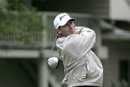 John Huston tees off the 8th during the first round of the MCI Heritage at Harbour Town Golf Links April 14, 2005, at Hilton Head Island.Photo by Al Messerschmidt/WireImage.com