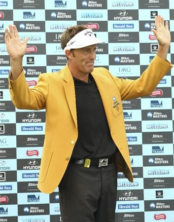 MELBOURNE, AUSTRALIA - NOVEMBER 14:  Stuart Appleby of Australia waves to the crowd after winning the 2010 Australia Masters after round four of the Australian Masters at The Victoria Golf Club on November 14, 2010 in Melbourne, Australia.  (Photo by Lucas Dawson/Getty Images)