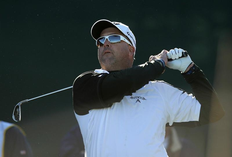 SCOTTSDALE, AZ - FEBRUARY 03:  Chris Couch hits a tee shot on the 16th hole during the first round of the Waste Management Phoenix Open at TPC Scottsdale on February 3, 2011 in Scottsdale, Arizona.  (Photo by Christian Petersen/Getty Images)