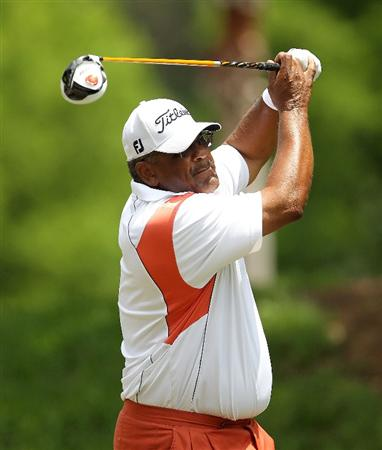LUTZ, FL - APRIL 16:  Jim Thorpe hits his tee shot on the 14th hole during the second round of the Outback Steakhouse Pro-Am at the TPC of Tampa on April 16, 2011 in Lutz, Florida.  (Photo by Mike Ehrmann/Getty Images)