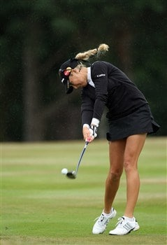 SUNNINGDALE, UNITED KINGDOM - AUGUST 03:  Natalie Gulbis of the USA hits her second shot at the 2nd hole during the final round of the 2008  Ricoh Women's British Open Championship held on the Old Course at Sunningdale Golf Club, on August 3, 2008 in Sunningdale, England.  (Photo by David Cannon/Getty Images)