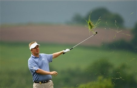 NEWPORT, UNITED KINGDOM - MAY 31:  Ross McGowan of England plays out of the rough during the third round of The Celtic Manor Wales Open on the 2010 Golf Course at Celtic Manor on May 31, 2008 in Newport, Wales.  (Photo by Warren Little/Getty Images)