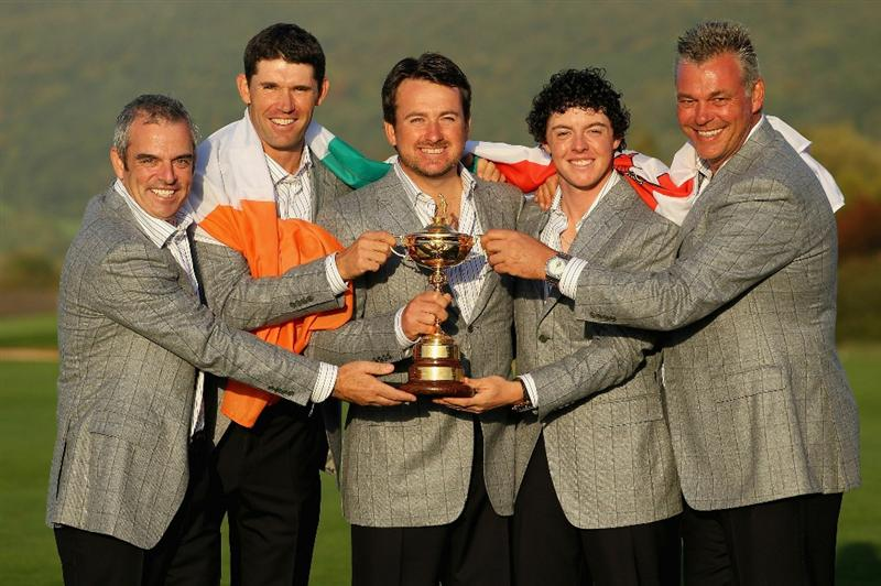 NEWPORT, WALES - OCTOBER 04:  European Team members (L-R) Paul McGinley, Padraig Harrington, Graeme McDowell, Rory McIlroy and Darren Clarke pose with the Ryder Cup following Europe's 14.5 to 13.5 victory over the USA at the 2010 Ryder Cup at the Celtic Manor Resort on October 4, 2010 in Newport, Wales.  (Photo by Andy Lyons/Getty Images)
