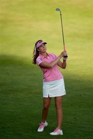 DANVILLE, CA - OCTOBER 14: Paula Creamer follows through on an approach shot during the first round of the CVS/Pharmacy LPGA Challenge at Blackhawk Country Club on October 14, 2010 in Danville, California. (Photo by Darren Carroll/Getty Images)