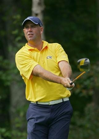 NORTON, MA - SEPTEMBER 05:  Stewart Cink of the United States hits during the second round of the Deutsche Bank Championship at TPC Boston held on September 5, 2009 in Norton, Massachusetts.  (Photo by Michael Cohen/Getty Images)