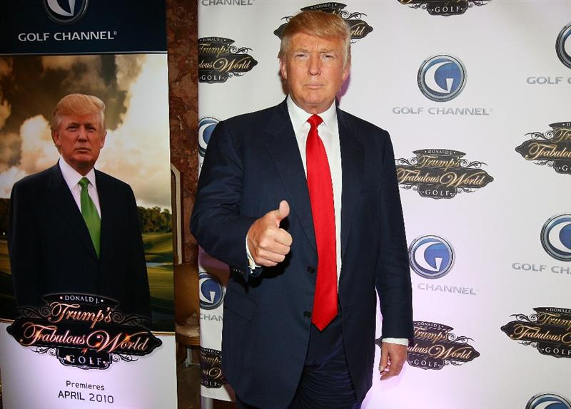 NEW YORK - MARCH 31:  Donald Trump poses for a photo prior to a special screening of Golf Channel's new celebrity reality series, Donald J Trump's Fabulous World of Golf on March 31, 2010 at Trump Towers in New York, New York.  (Photo by Mike Stobe/Getty Images for Golf Channel)