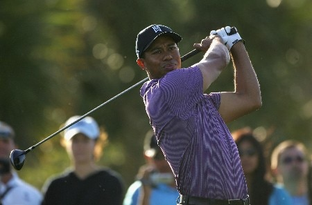 MIAMI - MARCH 19:  Tiger Woods of the USA tees off on the seventh hole during practice for the 2008 World Golf Championships CA Championship at the Doral Golf Resort & Spa, on March 19, 2008 in Miami, Florida.  (Photo by Warren Little/Getty Images)