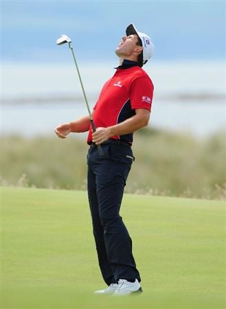 TURNBERRY, SCOTLAND - JULY 17:  Padraig Harrington of Ireland reacts to his putt on the 15th green during round two of the 138th Open Championship on the Ailsa Course, Turnberry Golf Club on July 17, 2009 in Turnberry, Scotland.  (Photo by Stuart Franklin/Getty Images)
