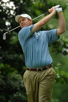 MITCHELLVILLE, MD - MAY 24:  Jeff Klauk plays his shot from the 14th tee during Round 3 of the Nationwide Tour Melwood Prince George's County Open at the Country Club at Woodmore on May 24, 2008 in Mitchellville, Maryland.  (Photo by Jonathan Ernst/Getty Images)