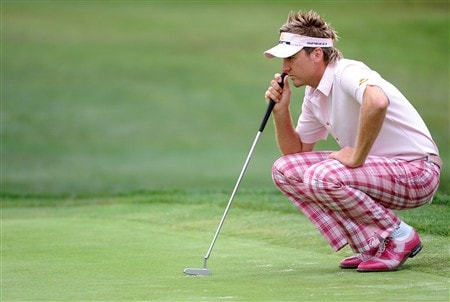 SAN DIEGO - JUNE 13:  Ian Poulter of England lines up a putt on the first hole during the second round of the 108th U.S. Open at the Torrey Pines Golf Course (South Course) on June 13, 2008 in San Diego, California.  (Photo by Harry How/Getty Images)