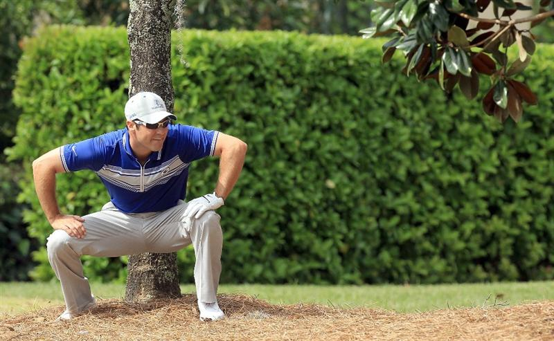 ORLANDO, FL - MARCH 22:  Trevor Immelman of South Africa and the Lake Nona Team tees in trouble under a tree for his second shot at the 3rd hole during the first day's play in the 2010 Tavistock Cup, at the Isleworth Golf and Country Club on March 22, 2010 in Orlando, Florida.  (Photo by David Cannon/Getty Images)