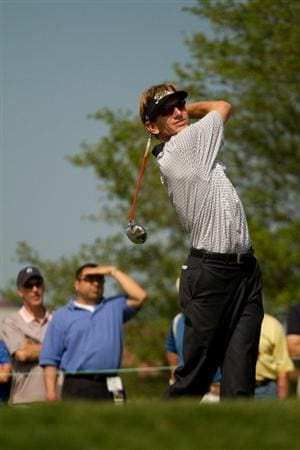 IRVING, TX - MAY 20: Brad Faxon follows through on a tee shot during the first round of the HP Byron Nelson Championship at TPC Four Seasons Resort Las Colinas on May 20, 2010 in Irving, Texas. (Photo by Darren Carroll/Getty Images)