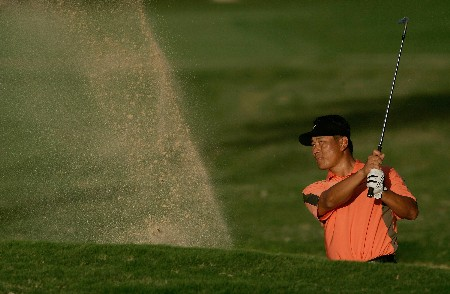 HONOLULU - JANUARY 12:  K.J. Choi of South Korea hits out of a bunker on the 18th hole during the third round of the Sony Open at the Waialae Country Club January 12, 2008 in Honolulu, Oahu, Hawaii.  (Photo by Jeff Gross/Getty Images)