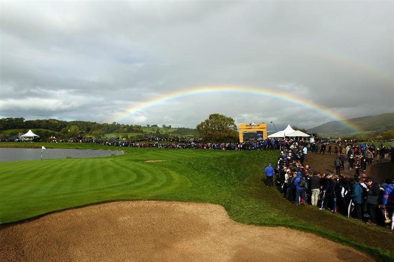 NEWPORT, WALES - OCTOBER 03:  General View of the 13th green during the  Fourball & Foursome Matches during the 2010 Ryder Cup at the Celtic Manor Resort on October 3, 2010 in Newport, Wales. (Photo by Richard Heathcote/Getty Images)