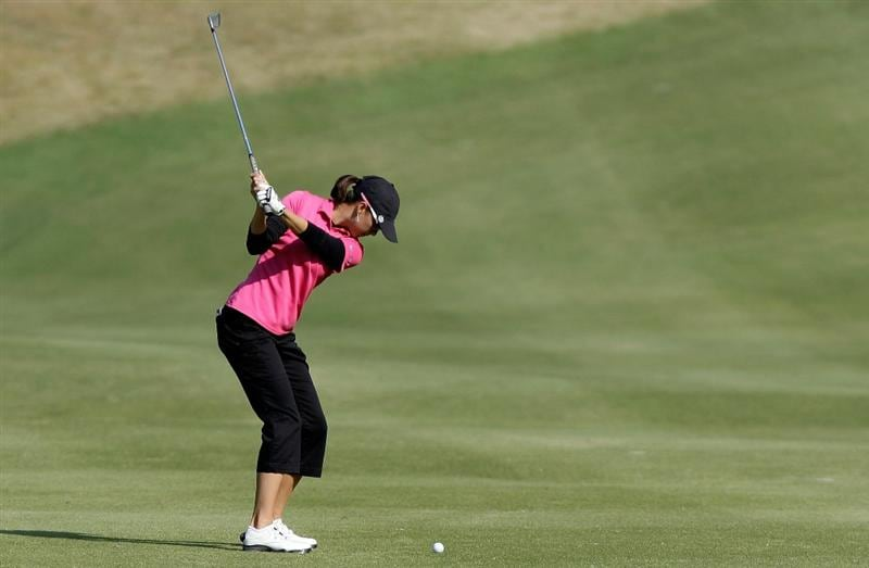 SHIMA, JAPAN - NOVEMBER 06:  Stacy Prammanasudh of United States plays a shot on the 12th hole during round two of the Mizuno Classic at Kintetsu Kashikojima Country Club on November 6, 2010 in Shima, Japan.  (Photo by Chung Sung-Jun/Getty Images)