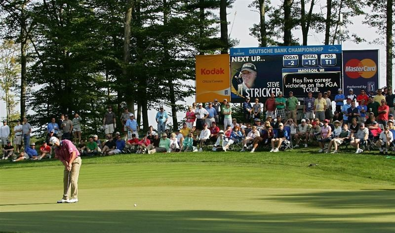 NORTON, MA - SEPTEMBER 07:  Steve Stricker putts for birdie on the 11th hole during the final round of the Deutsche Bank Championship at TPC Boston held on September 7, 2009 in Norton, Massachusetts.  (Photo by Michael Cohen/Getty Images)