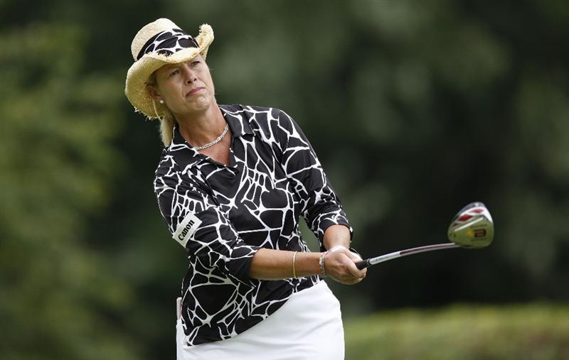 SYLVANIA, OH - JULY 03: Michelle McGann watches her tee shot on the 17th hole during the second round of the Jamie Farr Owens Corning Classic at Highland Hills Golf Club on July 3, 2009 in Sylvania, Ohio. (Photo by Gregory Shamus/Getty Images)