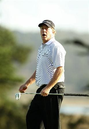 SAN FRANCISCO - NOVEMBER 07:  Michael Allen reacts after missing a putt on the 15th hole during the final round of the Charles Schwab Cup Championship at Harding Park Golf Course on November 7, 2010 in San Francisco, California.  (Photo by Ezra Shaw/Getty Images)
