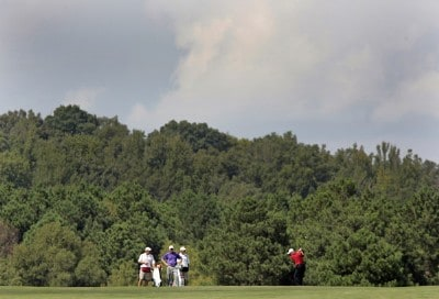 Joe Durant hits his approach shot on the 7th hole during the third round of the Southern Farm Bureau Classic at Annandale Golf Club in Madison, Mississippi, on September 30, 2006. Photo by Hunter Martin/WireImage.com
