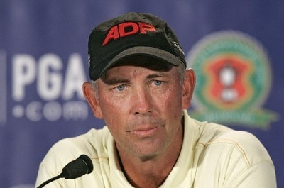 Tom Lehman holds a press conference for the Ryder Cup during practice for the 88th PGA Championship at Medinah Country Club in Medinah, Illinois on August 16, 2006.