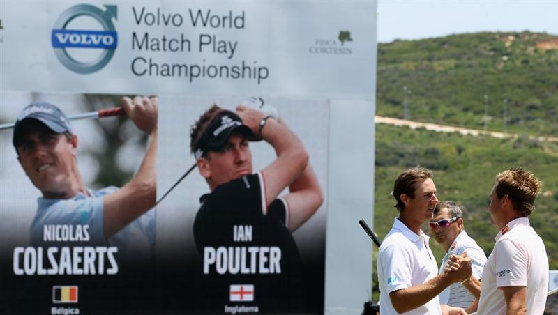 CASARES, SPAIN - MAY 22:  Nicolas Colsaerts of Belgium congratulates Ian Poulter of England after winning the semi final of the Volvo World Match Play Championship at Finca Cortesin on May 22, 2011 in Casares, Spain.  (Photo by Warren Little/Getty Images)
