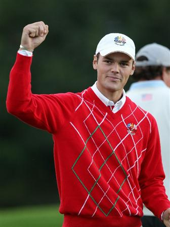 NEWPORT, WALES - OCTOBER 01:  Martin Kaymer of Europe celebrates holing a putt on the 11th green during the Morning Fourball Matches during the 2010 Ryder Cup at the Celtic Manor Resort on October 1, 2010 in Newport, Wales.  (Photo by Ross Kinnaird/Getty Images)