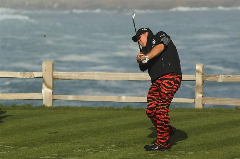 PEBBLE BEACH, CA - FEBRUARY 13:  John Daly tees off on the seventh hole during round three of the AT&T Pebble Beach National Pro-Am at Pebble Beach Golf Links on February 13, 2010 in Pebble Beach, California.  (Photo by Ezra Shaw/Getty Images)