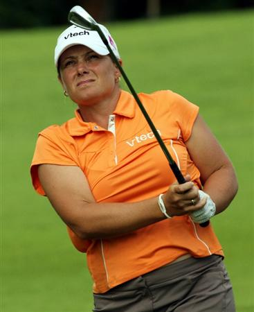 KUALA LUMPUR, MALAYSIA - OCTOBER 24 : Karen Stupples of England watches the flight of her ball from her 2nd shot on the 1st hole during the Final Round of the Sime Darby LPGA on October 24, 2010 at the Kuala Lumpur Golf and Country Club in Kuala Lumpur, Malaysia. (Photo by Stanley Chou/Getty Images)