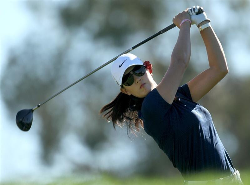 RANCHO MIRAGE,CA - APRIL 1: Michelle Wie hits her tee shot on the third hole during the second round of the Kraft Nabisco Championship at Mission Hills Country Club on April 1, 2011 in Rancho Mirage, California.  (Photo by Stephen Dunn/Getty Images)