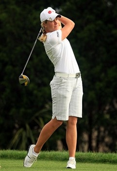 MT. PLEASANT, SC - MAY 30:  Suzann Pettersen of Norway tees off the 11th hole during the second round of the Ginn Tribute at RiverTowne Country Club on May 30, 2008 in Mt. Pleasant, South Carolina.  (Photo by Scott Halleran/Getty Images)