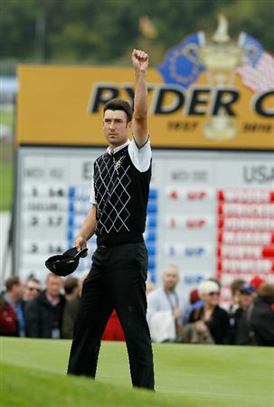 NEWPORT, WALES - OCTOBER 02:  Ross Fisher of Europe celebrates on the 18th green during the rescheduled Afternoon Foursome Matches during the 2010 Ryder Cup at the Celtic Manor Resort on October 2, 2010 in Newport, Wales.  (Photo by Sam Greenwood/Getty Images)