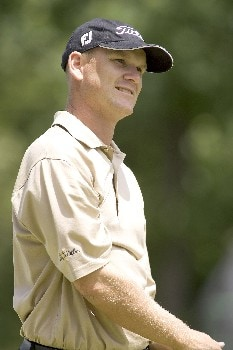 Jason Schultz watches his tee shot during the third round of the Rheem Classic at Hardscrabble Country Club in Fort Smith, AR, May 14, 2005. Schultz finished one shot off the lead at minus-9.Photo by Wesley Hitt/WireImage.com