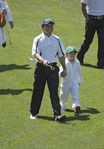 Shigeki Maruyama and his son during the par 3 contest prior to the 2006 Masters at the Augusta National Golf Club in Augusta, Georgia on April 5, 2006.Photo by Hunter Martin/WireImage.com