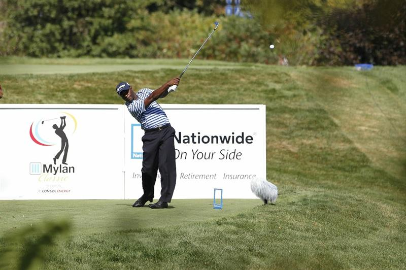 CANONSBURG, PA - SEPTEMBER 05:  Madalitso Muthiya of Zambia watches his tee shot on the 15th hole during the final round of the Mylan Classic presented by CONSOL Energy at Southpointe Golf Club on September 5, 2010 in Canonsburg, Pennsylvania.  (Photo by Gregory Shamus/Getty Images)