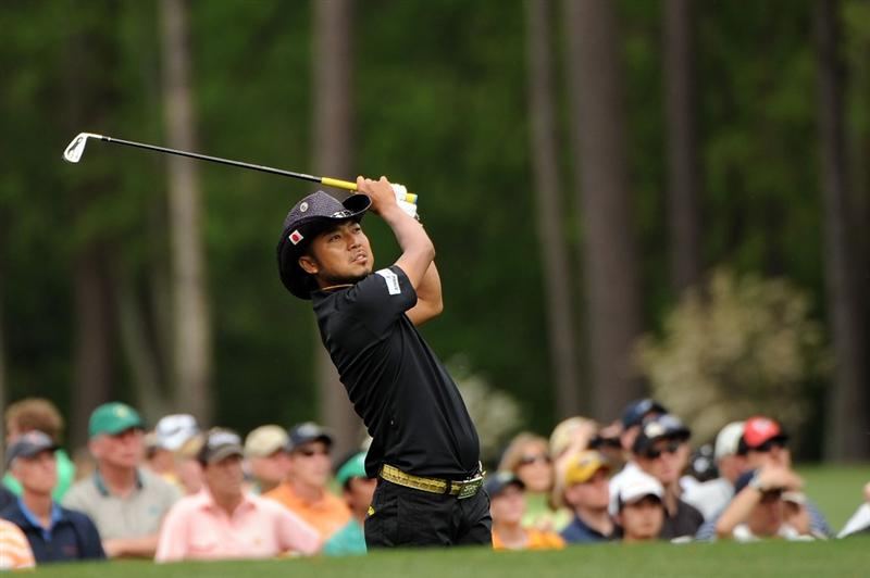 AUGUSTA, GA - APRIL 10:  Shingo Katayama of Japan hits his tee shot on the 12th hole during the second round of the 2009 Masters Tournament at Augusta National Golf Club on April 10, 2009 in Augusta, Georgia.  (Photo by Harry How/Getty Images)