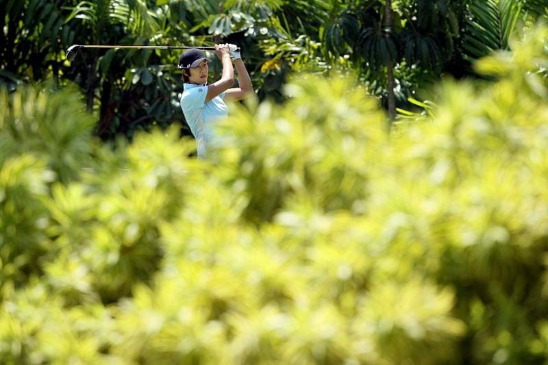 SINGAPORE - FEBRUARY 26:  Song-Hee Kim of South Korea hits her tee shot on the 7th hole during the second round of the HSBC Women's Champions at Tanah Merah Country Club on February 26, 2010 in Singapore, Singapore.  (Photo by Andy Lyons/Getty Images)
