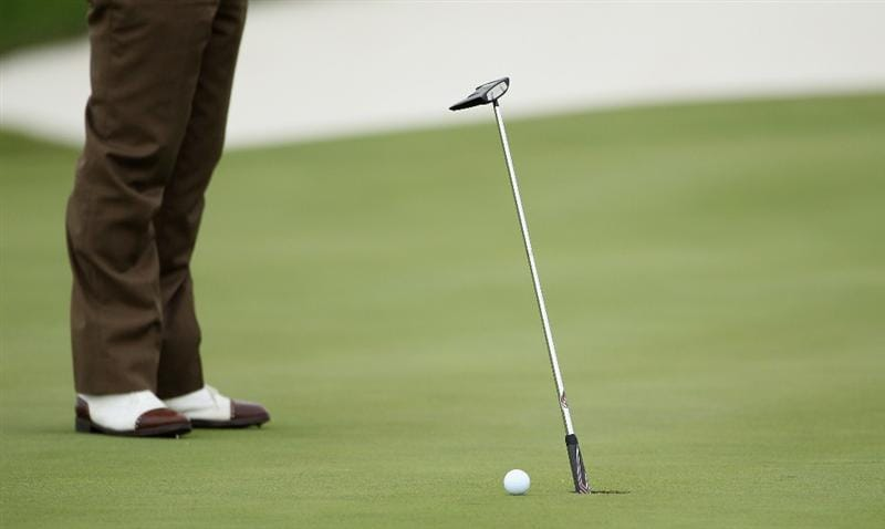 CASARES, SPAIN - MAY 18:  The putter of Miguel Angel Jimenez of Spain is used as the pin during the pro-am of the Volvo World Match Play Championship at Finca Cortesin on May 18, 2011 in Casares, Spain.  (Photo by Warren Little/Getty Images)