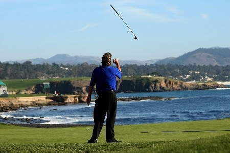 PEBBLE BEACH, CA - FEBRUARY 10:  Steve Lowery tosses his putter in the air after missing a long birdie attempt on the eighteenth hole during the final round of the AT&T Pebble Beach National Pro-Am on Pebble Beach Golf Links on February 10, 2008 in Pebble Beach. California.  Lowery went on to win on the first hole of a playoff with Vijay Singh.  (Photo by Stephen Dunn/Getty Images)