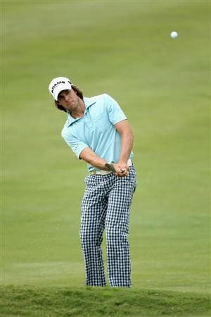 CASARES, SPAIN - MAY 20:  Aaron Baddeley of Australia chips onto the second green during the group stages of the Volvo World Match Play Championships at Finca Cortesin on May 20, 2011 in Casares, Spain.  (Photo by Warren Little/Getty Images)