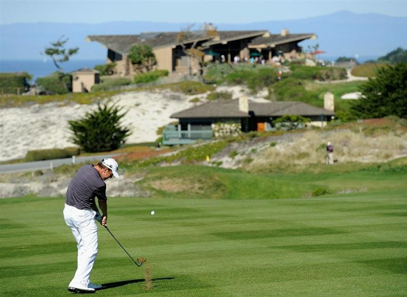 PEBBLE BEACH, CA - FEBRUARY 12:  Bryce Molder plays his approach shot on the fourth hole during the third round of the AT&T Pebble Beach National Pro-Am at the Spyglass Hil Golf Course on February 11, 2011  in Pebble Beach, California  (Photo by Stuart Franklin/Getty Images)