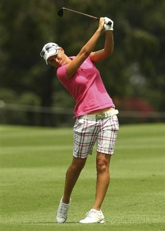 MELBOURNE, AUSTRALIA - FEBRUARY 04:  Lee-Anne Pace of South Africa plays a shot during day two of the Women's Australian Open at The Commonwealth Golf Club on February 4, 2011 in Melbourne, Australia.  (Photo by Lucas Dawson/Getty Images)