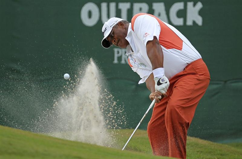 LUTZ, FL - APRIL 16:  Jim Thorpe hits his out of the bunker on the 11th hole during the second round of the Outback Steakhouse Pro-Am at the TPC of Tampa on April 16, 2011 in Lutz, Florida.  (Photo by Mike Ehrmann/Getty Images)