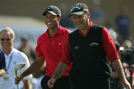 SAN DIEGO - JUNE 16:  Rocco Mediate (R) and Tiger Woods walk off the tee on the first hole during the playoff round of the 108th U.S. Open at the Torrey Pines Golf Course (South Course) on June 16, 2008 in San Diego, California.  (Photo by Doug Pensinger/Getty Images)