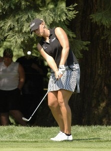 Ashley Prange chips onto the first green during the first round of the Safeway Classic at Columbia-Edgewater Country Club in Portland, Oregon on August 18, 2006.Photo by Al Messerschmidt/WireImage.com