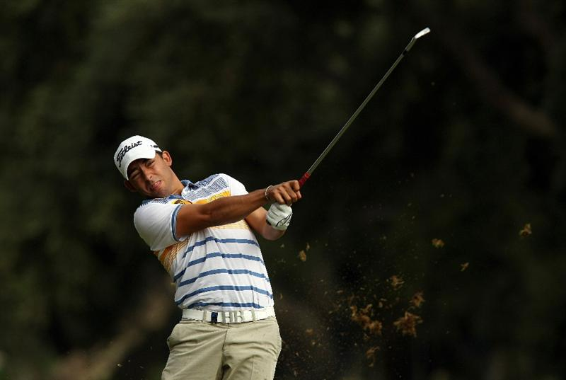 SOTOGRANDE, SPAIN - OCTOBER 29:  Pablo Larrazabal of Spain plays into the 7th green during the second round of the Andalucia Valderrama Masters at Club de Golf Valderrama on October 29, 2010 in Sotogrande, Spain.  (Photo by Richard Heathcote/Getty Images)