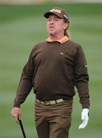 MARANA, AZ - FEBRUARY 26:  Miguel Angel Jimenez  of Spain reacts to his chip shot on the seventh hole during the quarterfinal round of the Accenture Match Play Championship at the Ritz-Carlton Golf Club on February 26, 2011 in Marana, Arizona.  (Photo by Stuart Franklin/Getty Images)