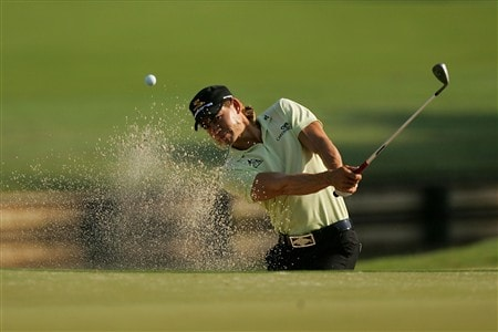 PONTE VEDRA BEACH, FL - MAY 07:  Camilo Villegas of Colombia plays a bunker shot during practice for the THE PLAYERS Championship on THE PLAYERS Stadium Course at TPC Sawgrass on May 7, 2008 in Ponte Vedra Beach, Florida.  (Photo by Sam Greenwood/Getty Images)