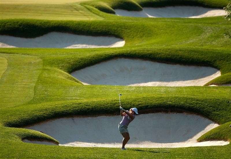 BETHLEHEM, PA - JULY 09:  Morgan Pressel hits from behind a sand trap during the first round of the 2009 U.S. Women's Open at Saucon Valley Country Club on July 9, 2009 in Bethlehem, Pennsylvania.  (Photo by Streeter Lecka/Getty Images)
