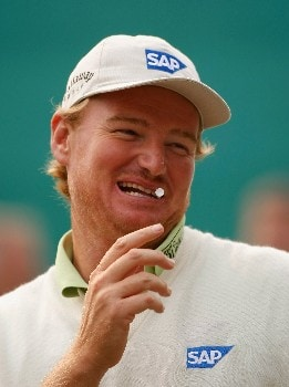 DELHI, INDIA - FEBRUARY 05:  Ernie Els of South Africa smiles during the shoot - out of The EMAAR - MGF Indian Masters at Delhi golf Club on February 05, 2008 in Delhi, India.  (Photo by Stuart Franklin/Getty Images)